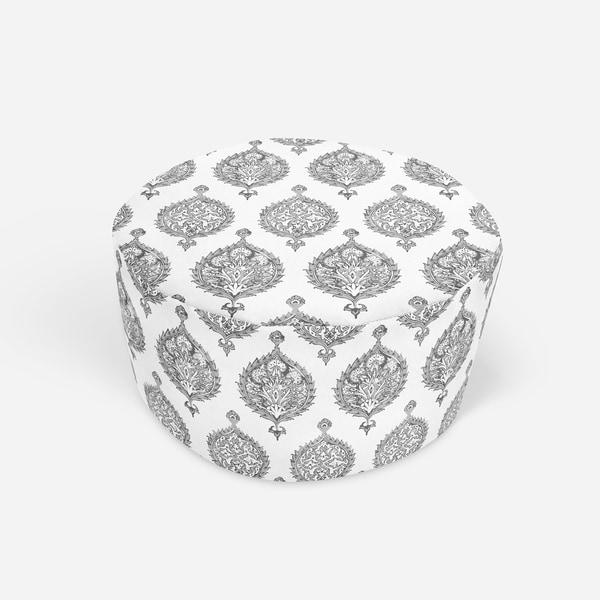 ENDANA GREY Round Pouf By Kavka Designs