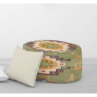 The Curated Nomad Marston Green Round Pouf