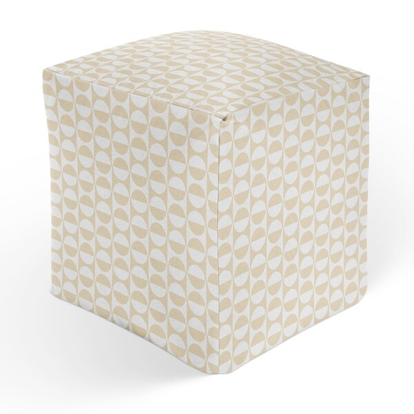 MOD SQUAD OATMEAL AND WHITE Square Pouf By Kavka Designs
