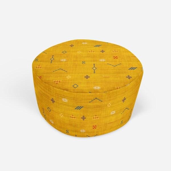 CACTUS SILK MUSTARD Round Pouf By Kavka Designs