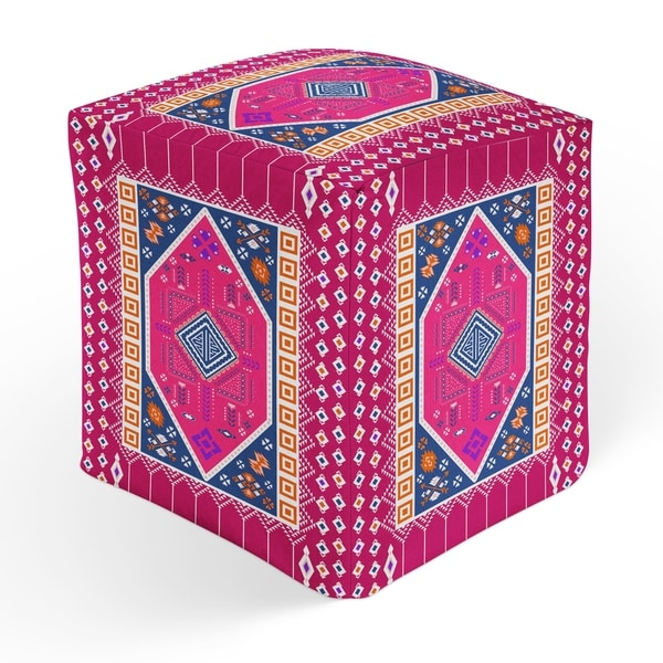 PAC BLUE AND PINK Square Pouf By Kavka Designs