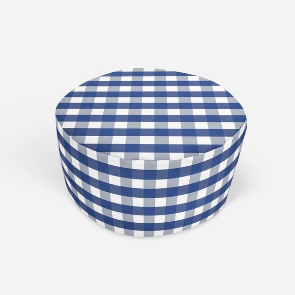 NAVY GINGHAM DREAM Round Pouf By Kavka Designs