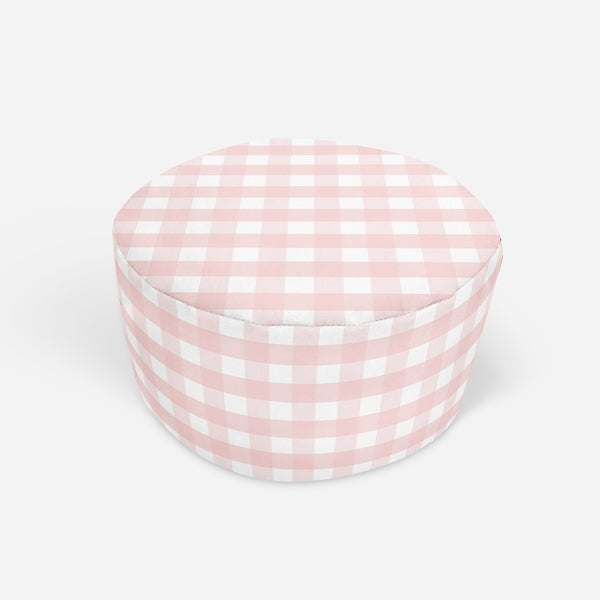 ROSE GINGHAM DREAM Round Pouf By Kavka Designs