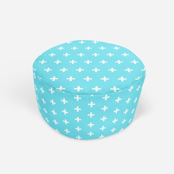 CRISS CROSS TEAL Round Pouf By Kavka Designs