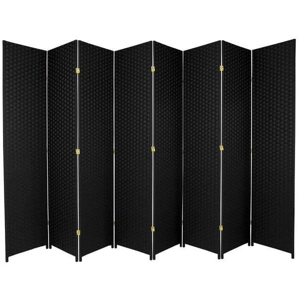 7 ft. Tall Woven Fiber Room Divider - Black - 8 Panel
