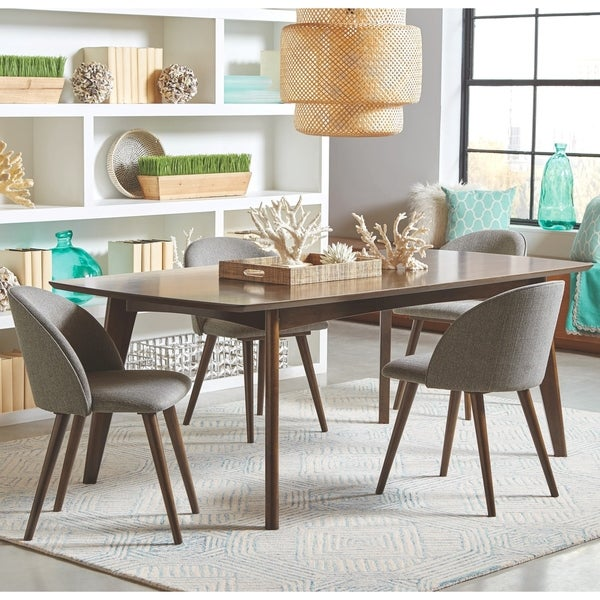 9098e03d2cad Shop Mid-Century Danish Design Dining Set with Grey Upholstered Chairs -  Free Shipping Today - Overstock - 28250864