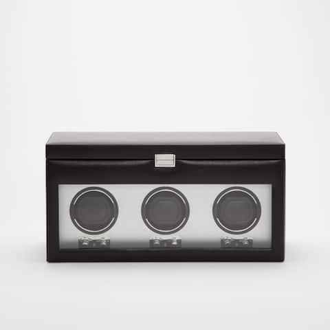 Black Faux Leather/ Glass Triple Watch Winder w/ Storage
