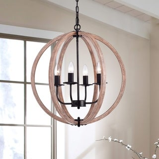 Benita Natural Wood Orb Chandelier in Antique Black (As Is Item)