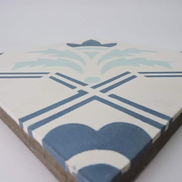 "Moroccan 4 Piece Handmade Cement Mosaic Blue Hamsa Tile 6/""x6/"" Geometric Design"