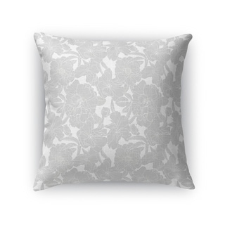 FLOWER POWER GREY ON WHITE Accent Pillow By Kavka Designs
