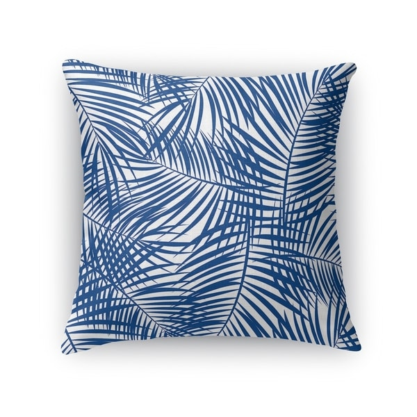 PALM PLAY BLUE ON WHITE Accent Pillow By Kavka Designs
