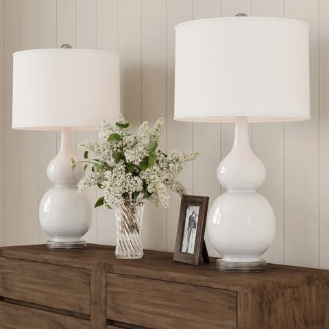 Table Lamps  Vintage White Set of 2 LED Double Gourd Lamps by Lavish Home