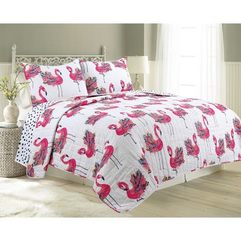 James Home Cotton Quilt Set Flower Flamingo 3pc Reversible Ultra-Soft Microfiber