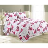 James Home Quilt Set Flower Flamingo 3pc Reversible Ultra-Soft Microfiber