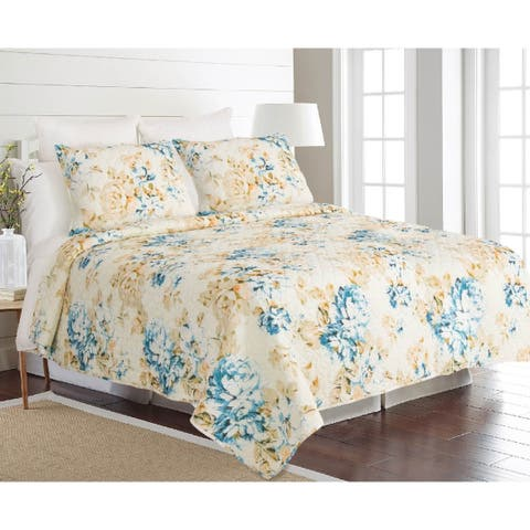 James Home Quilt Set Francesca 3pc Reversible Ultra-Soft Microfiber