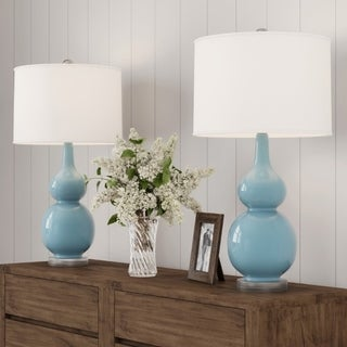 Link to Table Lamps – Vintage Blue Set of 2 Double Gourd LED Lamps by Lavish Home Similar Items in Lamp Sets