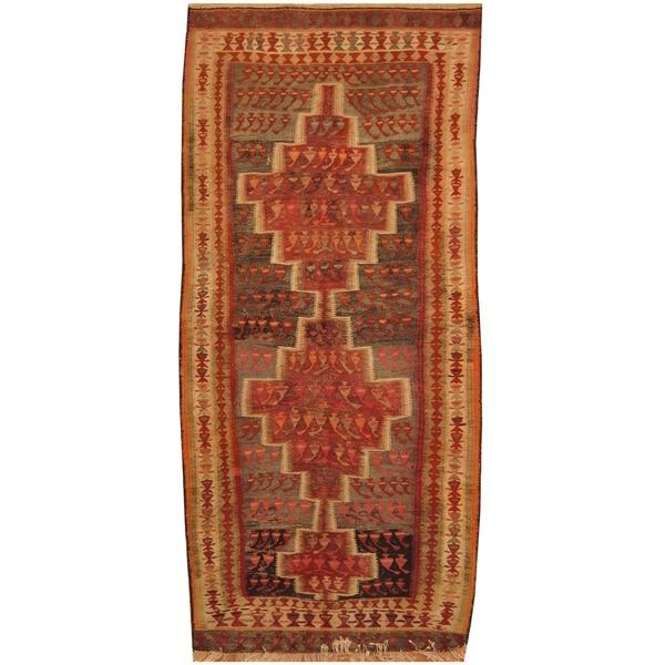 Handmade One-of-a-Kind Wool Kilim (India) - 4' x 8'