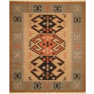 Handmade One-of-a-Kind Wool Kilim (India) - 8'2 x 9'9