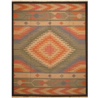 Handmade One-of-a-Kind Wool Kilim (India) - 9'3 x 12'