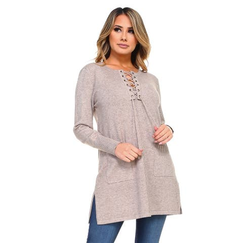 Women's Knit Lace-Up Long Sleeves Tunic Top with Pockets