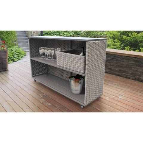 Monterey Bar Cart with Basket Outdoor Wicker Patio Furniture