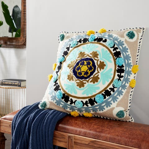 """Decorative Throw Pillow w/ Eclectic Mandala Embroidery 28"""""""