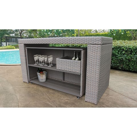 Monterey Bar Table Set with Cart and Basket Outdoor Wicker Patio Furniture