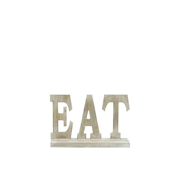 """UTC46034: Wood Alphabet Decor """"EAT"""" on Base Washed Finish Tan"""