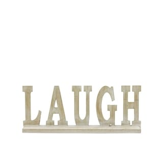 """UTC46052: Wood Alphabet Decor """"LAUGH"""" on Base Washed Finish Tan"""