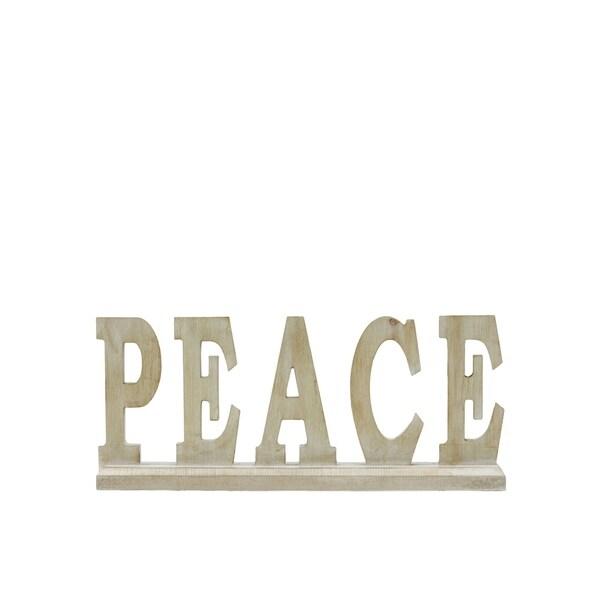 """UTC46044: Wood Alphabet Decor """"PEACE"""" on Base Washed Finish Tan"""