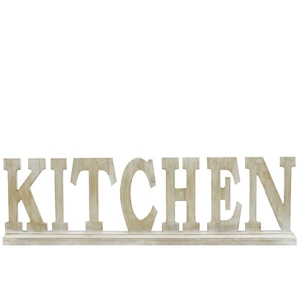 """UTC46032: Wood Alphabet Decor """"KITCHEN"""" on Base Washed Finish Tan"""