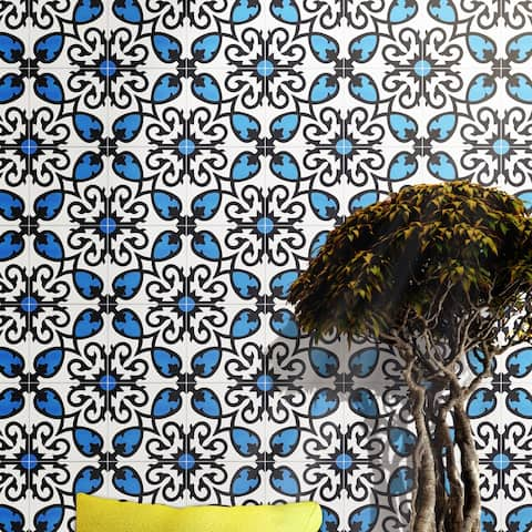 Handmade Agadir in Blue and Black Tile, Pack of 12 (Morocco)