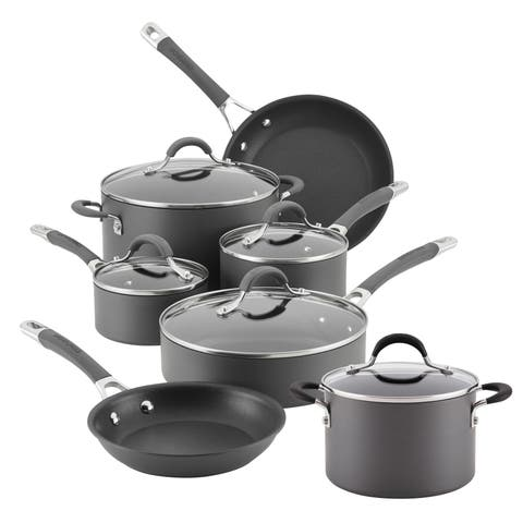 Circulon Radiance Hard-Anodized 10-Piece with Bonus Cookware Set, Gray