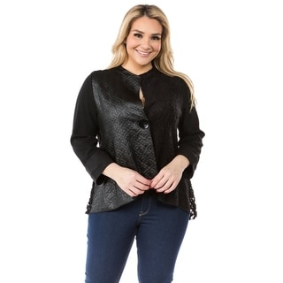 Link to Women's Black Patchwork One Button Down Cardigan Similar Items in Women's Sweaters