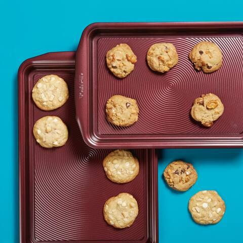 Circulon Nonstick Bakeware Cookie Pan Set, Merlot