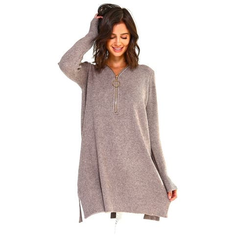 Women's Thick Knit Loose Fit Zip-Up Tunic Top