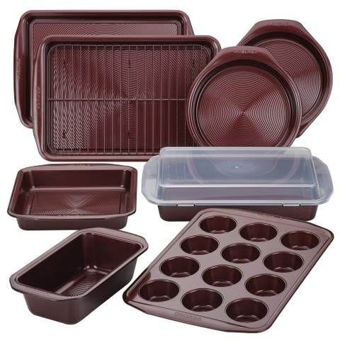 Circulon Nonstick Bakeware 10-Piece Bakeware Set, Merlot