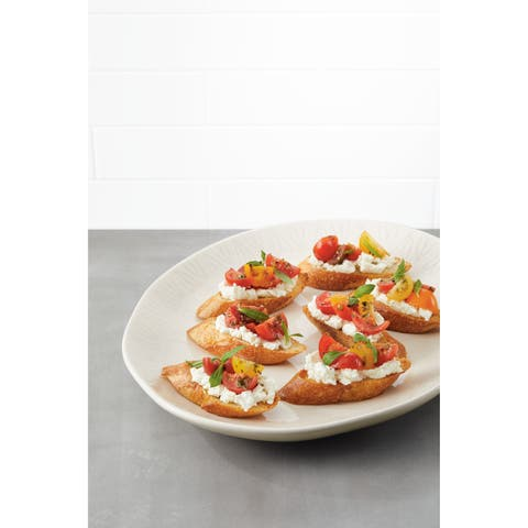 Ayesha Collection Ceramic Oval Platter 10.5-Inch x 13.5-Inch, French Vanilla - 10.5-Inch x 13.5-Inch
