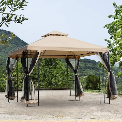 Outsunny 10' x 10' Steel Fabric Square Outdoor Gazebo Pop-up with Mosquito Netting
