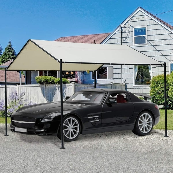 Shop Outsunny 11.5' x 11.5' 1 Car Carport Canopy Tent with ...