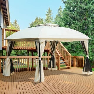 Outsunny 10' x 12' Two Tiered Soft Top Patio Gazebo with Mosquito Netting and Privacy Curtain