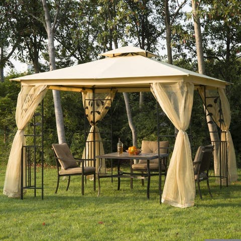 Outsunny 10' x 10' Steel Fabric Rectangle Outdoor Gazebo with Mesh Curtain Sidewalls