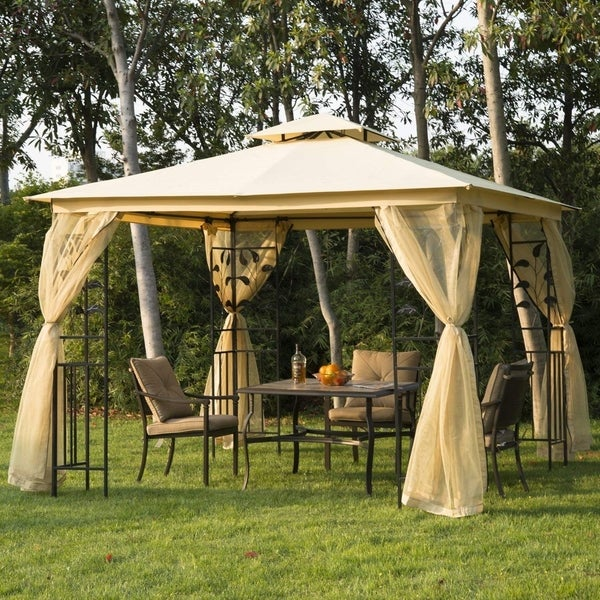 Outsunny 10' x 10' Steel Fabric Rectangle Outdoor Gazebo with Mesh Curtain Sidewalls. Opens flyout.