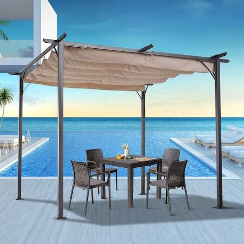 Outsunny 10' Retractable Canopy Cover Steel Frame Classic Pergola Gazebo