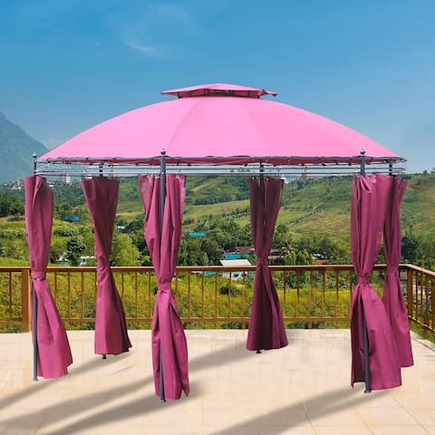 Outsunny 11.5' Steel Fabric Round Soft Top Outdoor Patio Dome Gazebo Shelter with Curtains