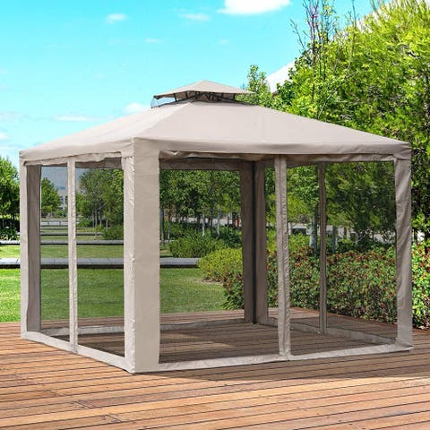 Outsunny 10' x 10' Steel Fabric Outdoor Patio Gazebo Pavilion Canopy Tent 2-tier Roof with Netting Square Outdoor Gazebo