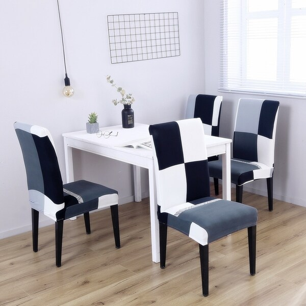 Enova Home Black and White Elegant Polyester and Spandex Stretch Washable Box Cushion Chair Slipcover Set of 4