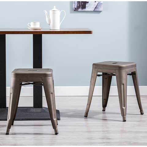 Porthos Home Una 18 Inch Stool Set Of 4, Made Of Metal, Backless