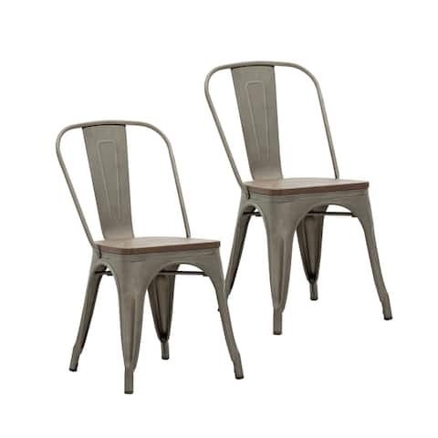 Porthos Home Valen Metal Dining Chairs Set of 2, Wooden Seats