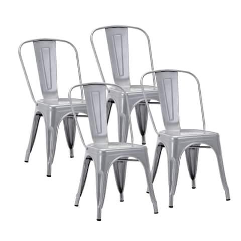 Porthos Home Sagi Metal Dining Chairs Set of 4, Easily Stackable